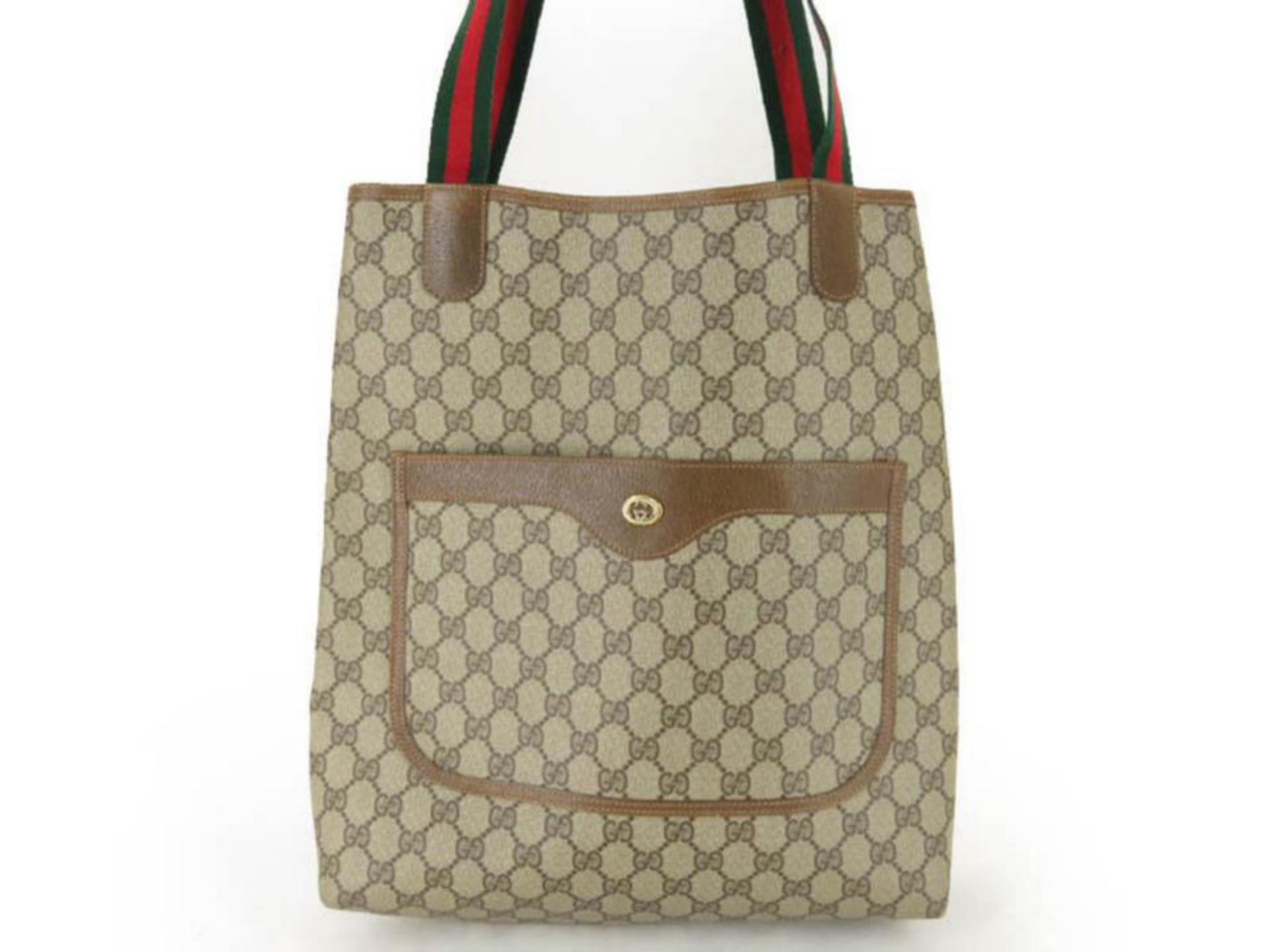 b29d5d15d1a843 Gucci Supreme Monogram Large Web Shopping 867668 Brown Coated Canvas Tote  For Sale at 1stdibs