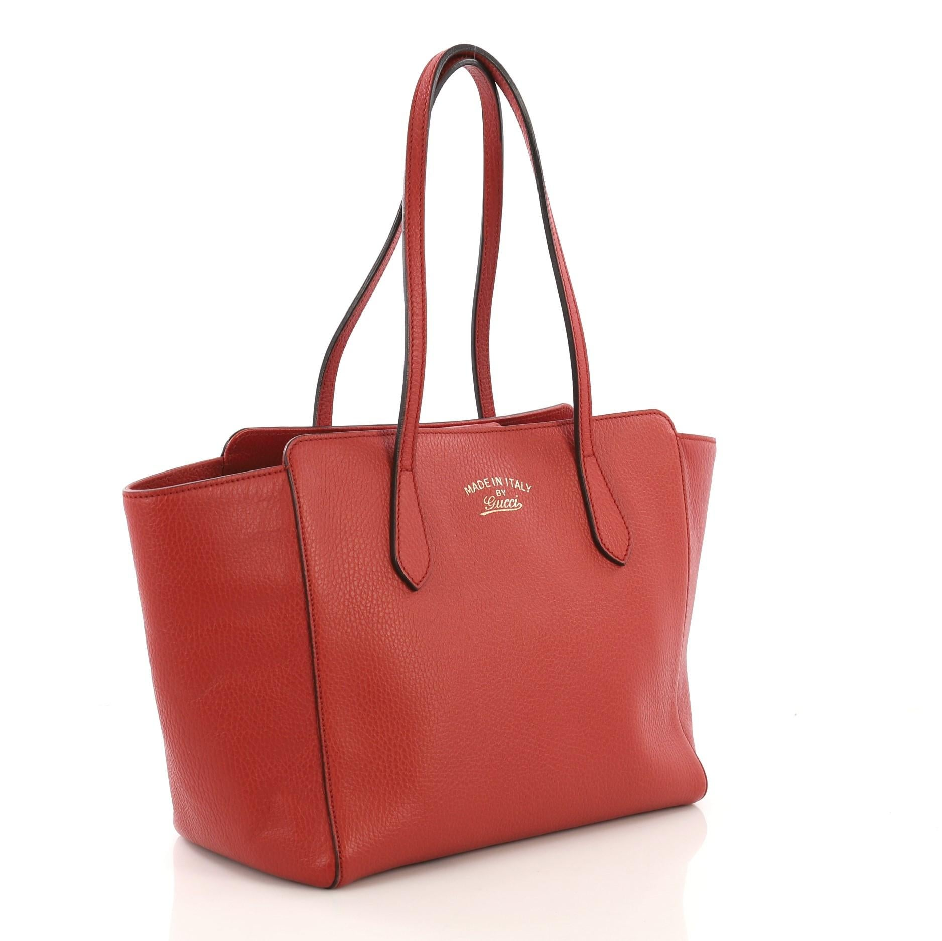 4d6a48ec33aa54 Gucci Swing Tote Leather Small, crafted in red leather at 1stdibs