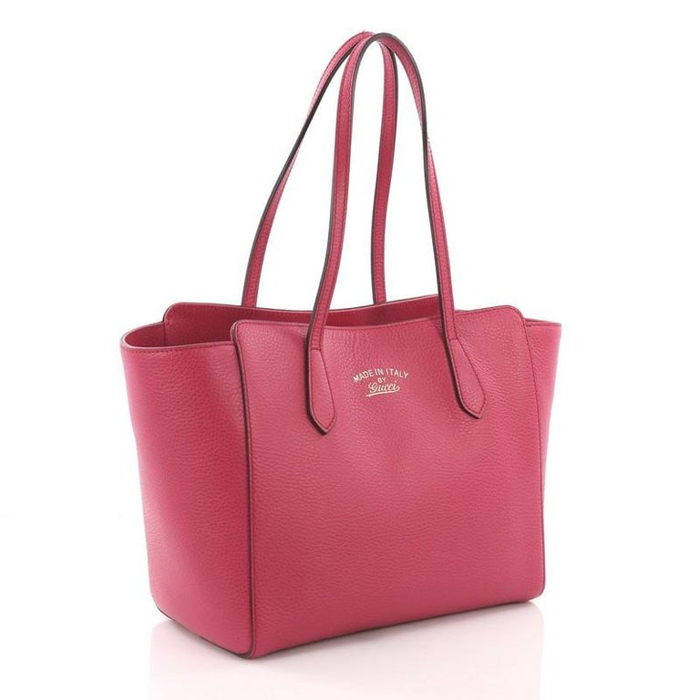 Pink Gucci Swing Tote Leather Small For Sale
