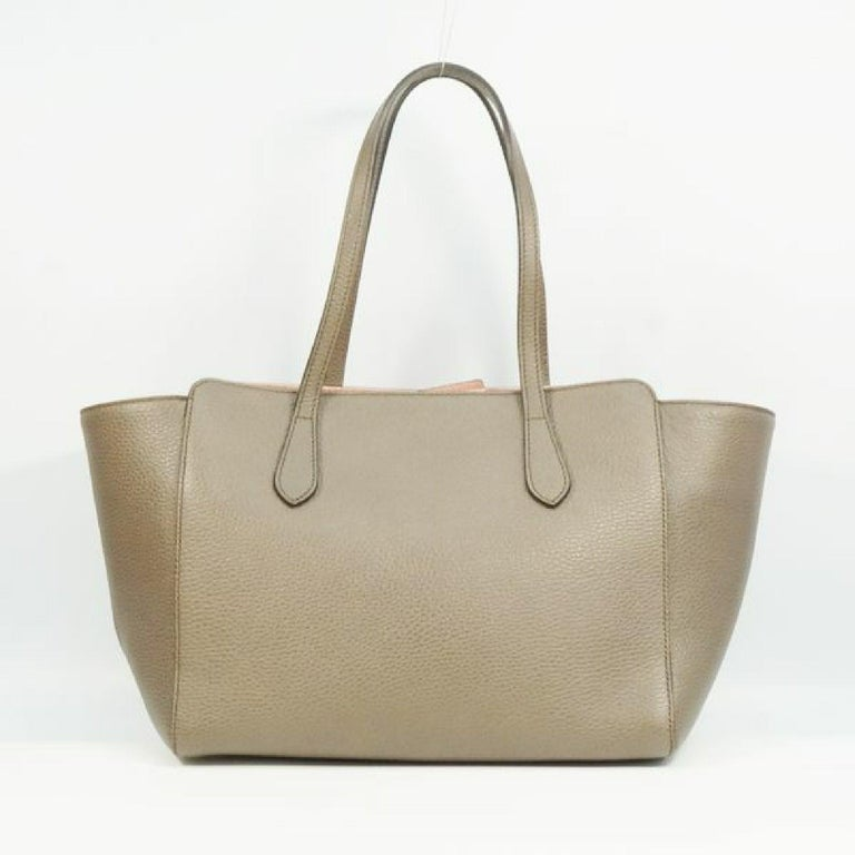 Brown GUCCI Swing Womens tote bag 354408 khaki gray x pink For Sale
