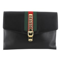 Gucci Sylvie Clutch Leather Maxi