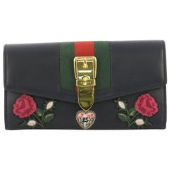 Gucci Sylvie Continental Wallet Embroidered Leather