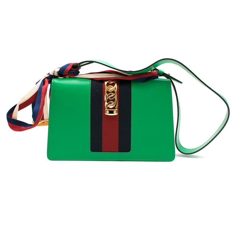 Gucci Sylvie Green Leather Small Shoulder Bag In Excellent Condition For Sale In London, GB