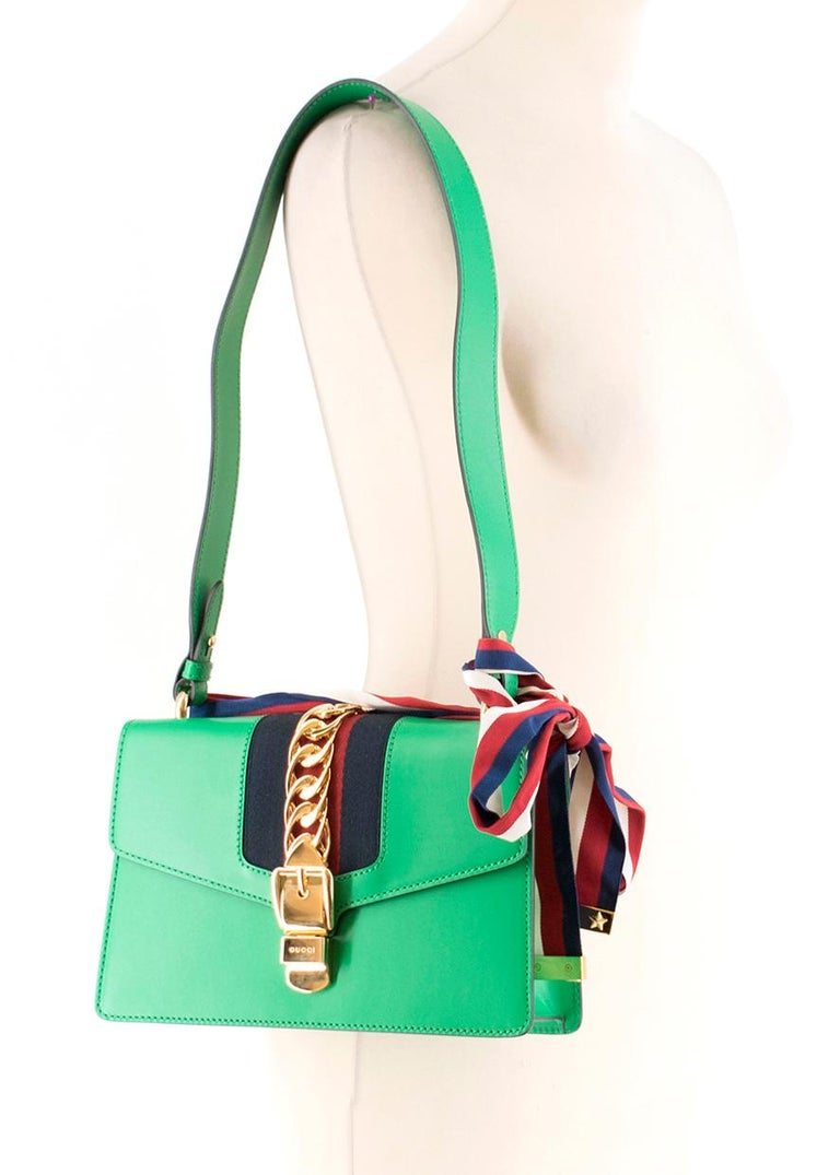 Gucci Sylvie Green Leather Small Shoulder Bag For Sale 2