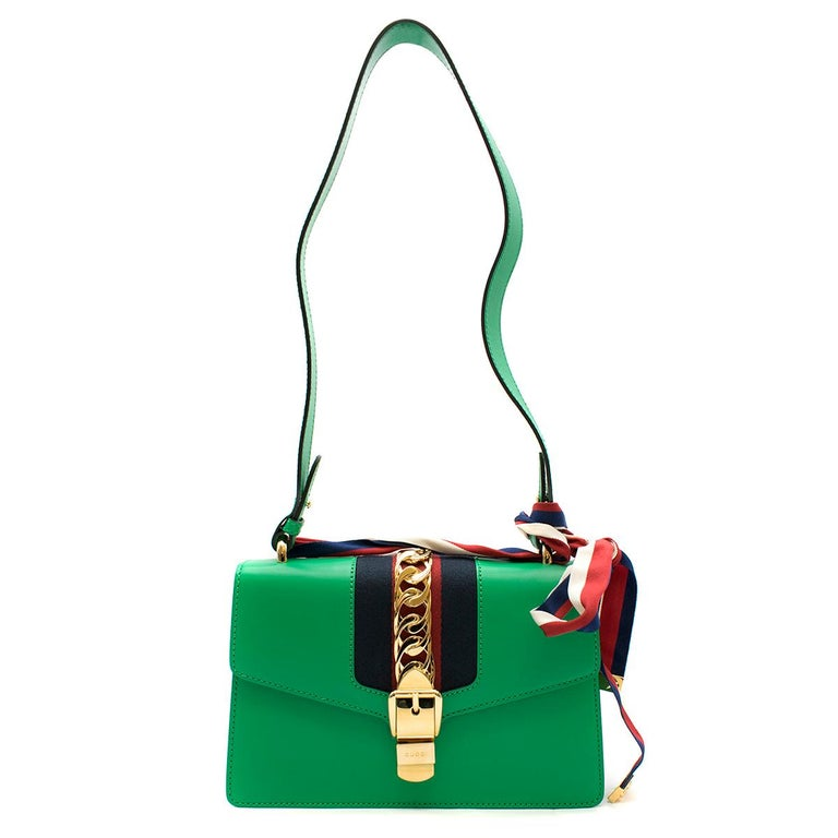 Gucci Sylvie Green Leather Small Shoulder Bag For Sale 3