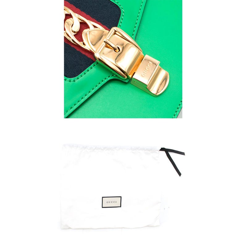 Gucci Sylvie Green Leather Small Shoulder Bag For Sale 4