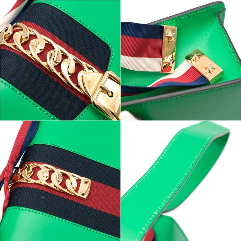 Gucci Sylvie Green Leather Small Shoulder Bag For Sale 5
