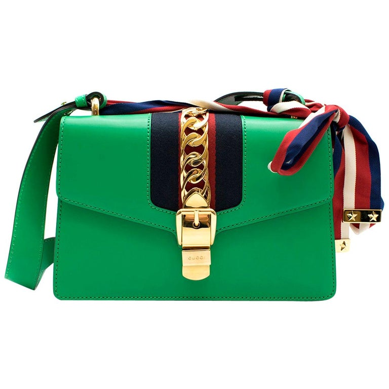 Gucci Sylvie Green Leather Small Shoulder Bag For Sale