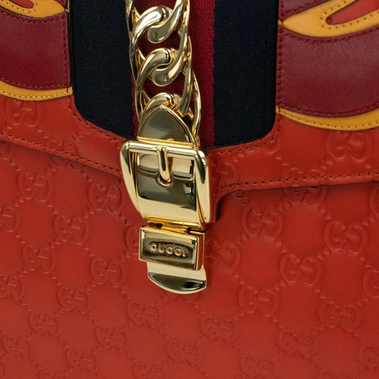 Gucci, Sylvie in orange leather For Sale 9