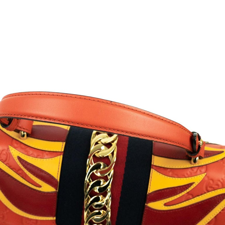 Gucci, Sylvie in orange leather For Sale 10