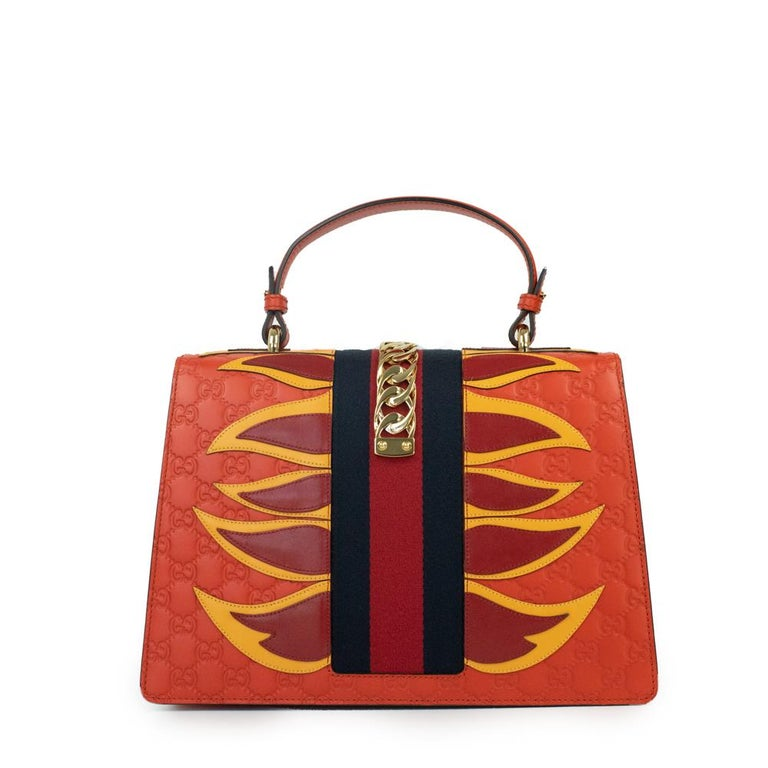 Red Gucci, Sylvie in orange leather For Sale
