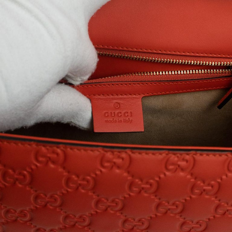 Gucci, Sylvie in orange leather For Sale 1