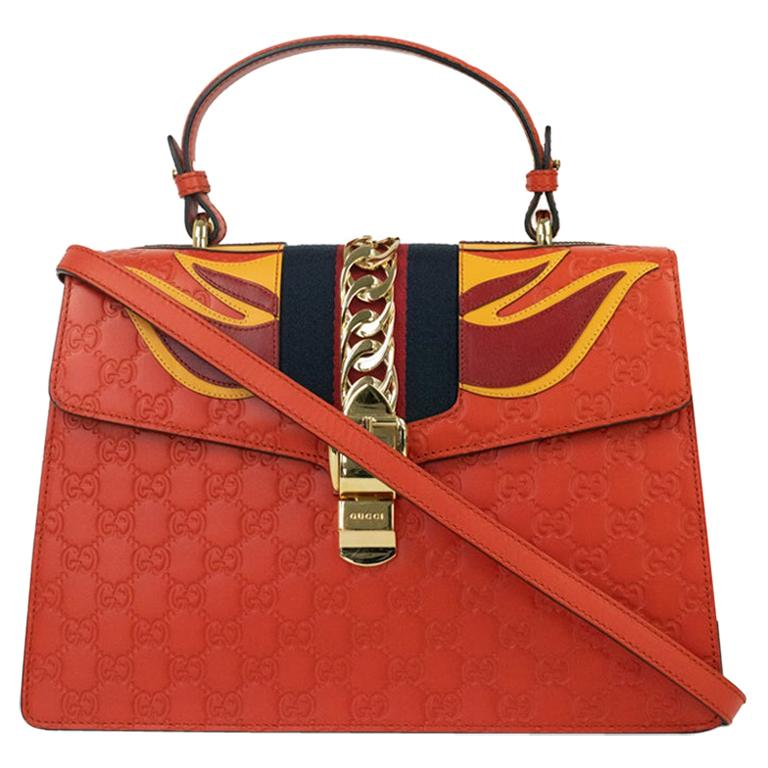 Gucci, Sylvie in orange leather For Sale