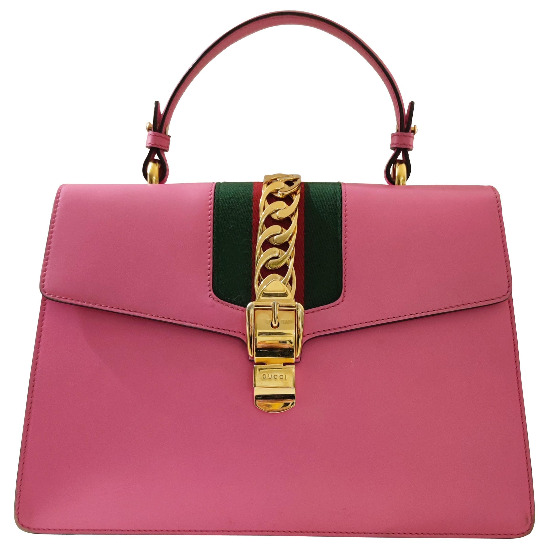 Gucci Sylvie pink handle bag