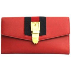 Gucci Sylvie Red Leather Continental Wallet