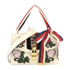 Gucci Sylvie Shoulder Bag Embroidered Leather Small