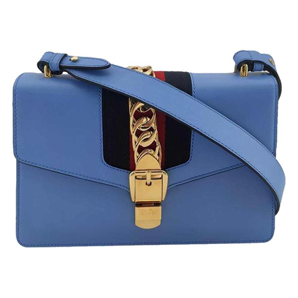 GUCCI Sylvie Shoulder bag in Blue Leather