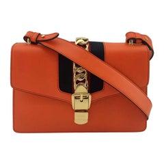 GUCCI Sylvie Shoulder bag in Orange Leather
