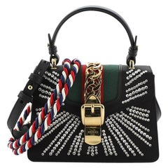 Gucci  Sylvie Top Handle Bag Crystal Embellished Satin Mini