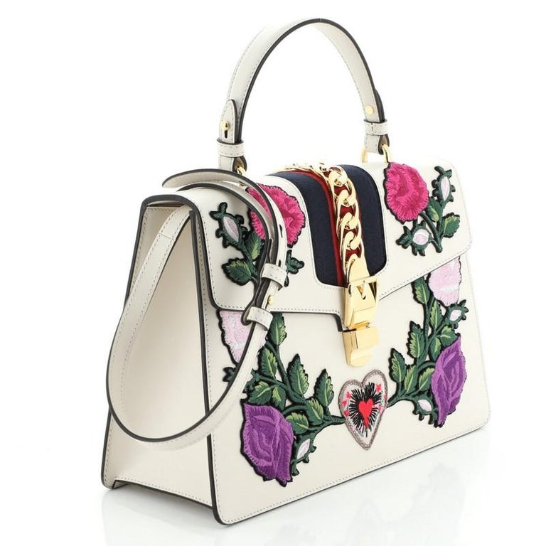 Beige Gucci Sylvie Top Handle Bag Embroidered Leather Medium