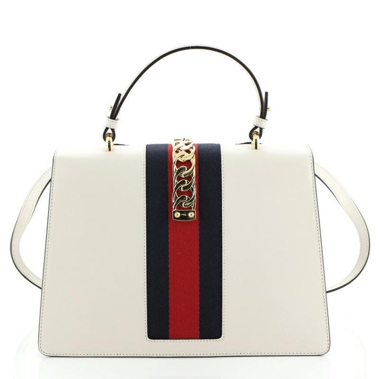 Gucci Sylvie Top Handle Bag Embroidered Leather Medium In Good Condition In New York, NY