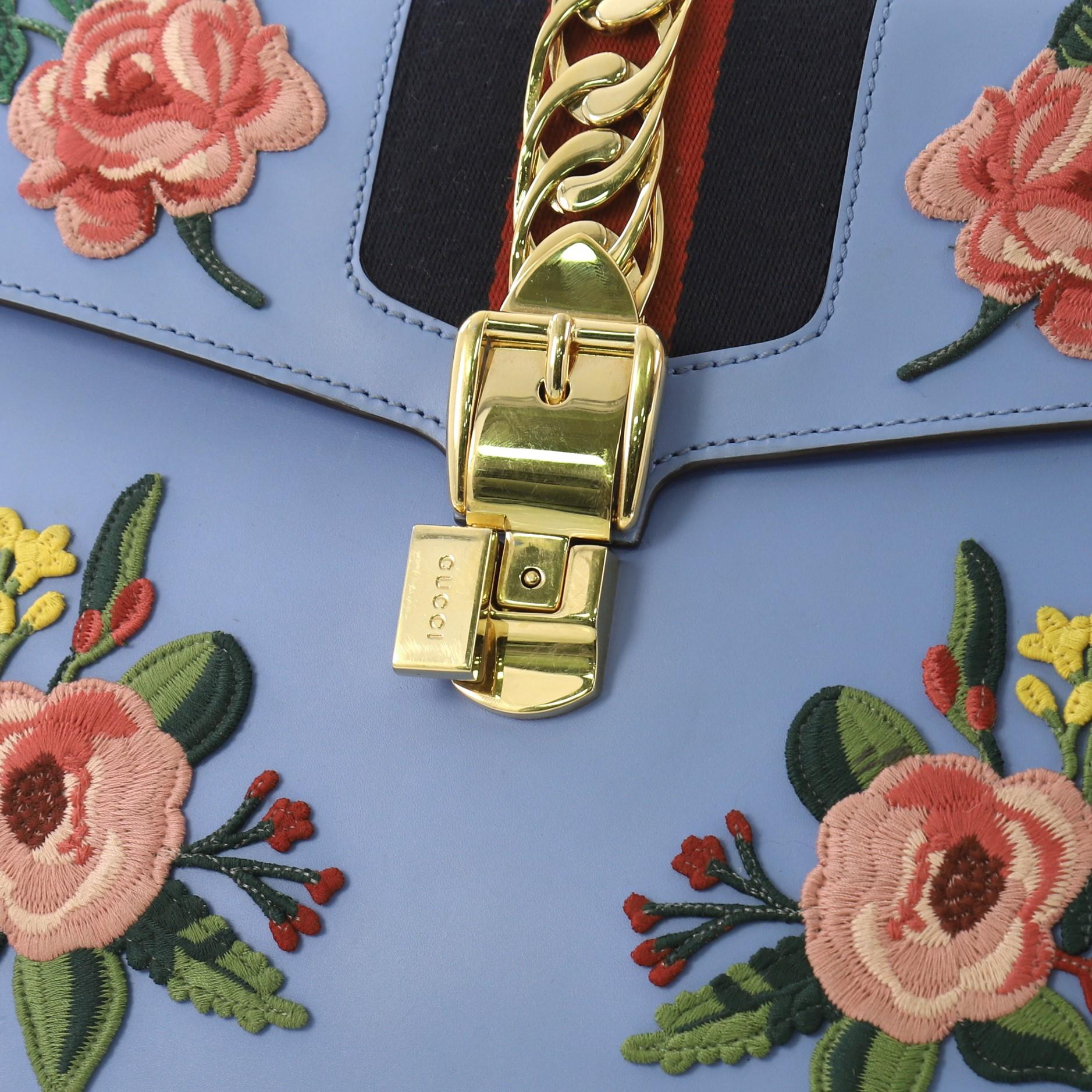 7be0e9c312d Gucci Sylvie Top Handle Bag Embroidered Leather Medium For Sale at 1stdibs