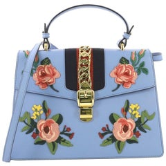 Gucci Sylvie Top Handle Bag Embroidered Leather Medium