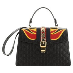 Gucci Sylvie Top Handle Bag Guccissima Leather with Applique Medium