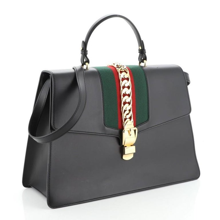 Gucci Sylvie Top Handle Bag Leather Large In Good Condition For Sale In New York, NY