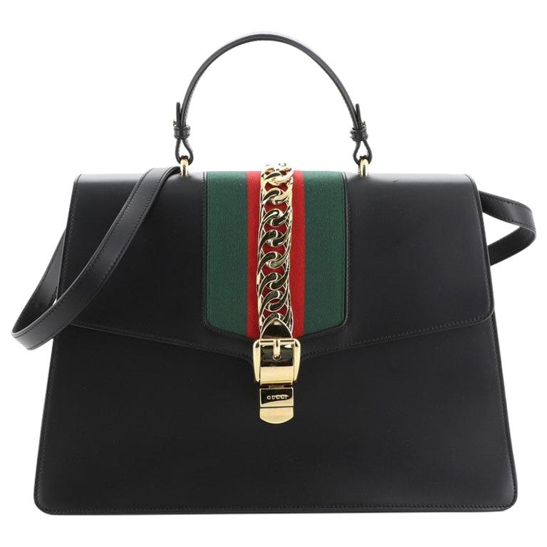 Gucci Sylvie Top Handle Bag Leather Large For Sale