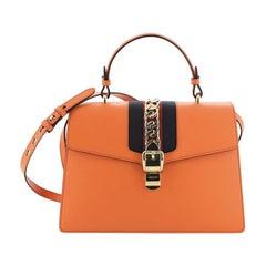 Gucci Sylvie Top Handle Bag Leather Medium