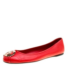 Gucci Tabasco Red Leather GG Interlocking Buckle Ballet Flats Size 39