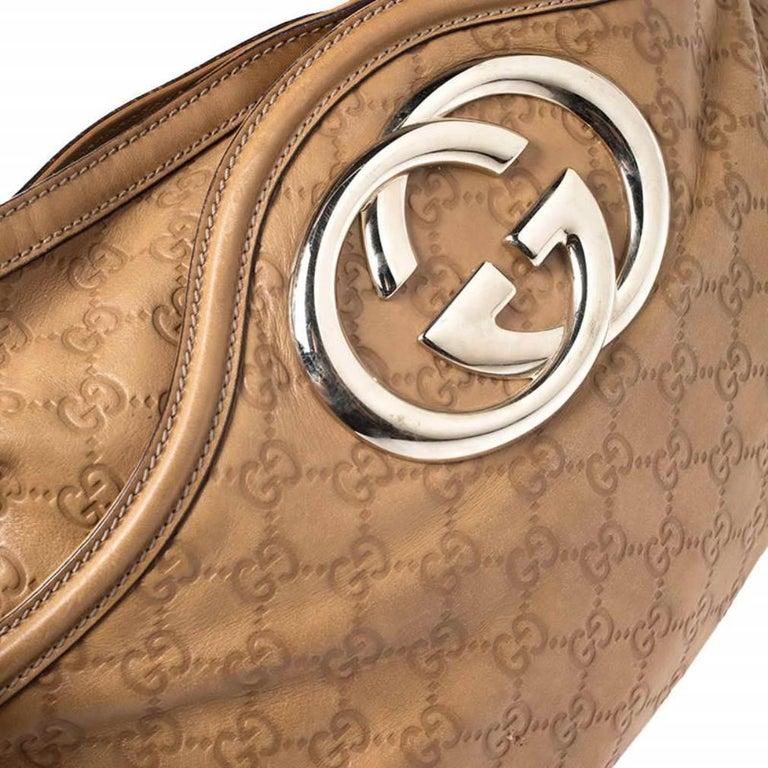 Gucci Tan Guccissima Leather Medium Britt Shoulder Bag For Sale 4