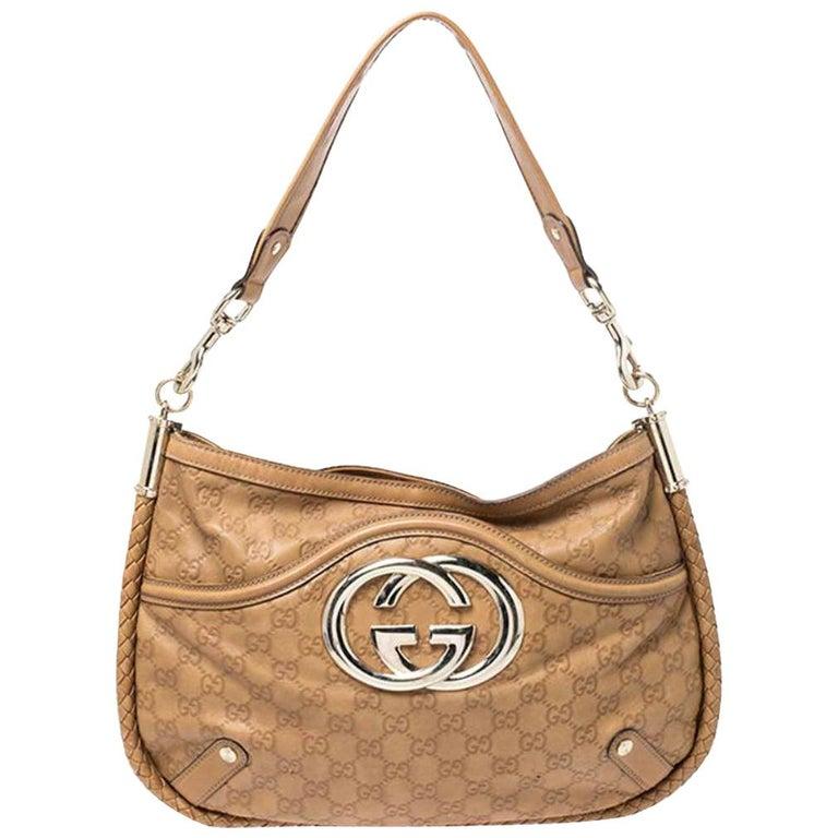 Gucci Tan Guccissima Leather Medium Britt Shoulder Bag For Sale