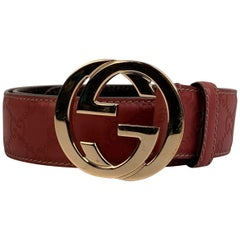 Gucci Tan Guccissima Monogram Leather Belt GG Buckle Size 95/38