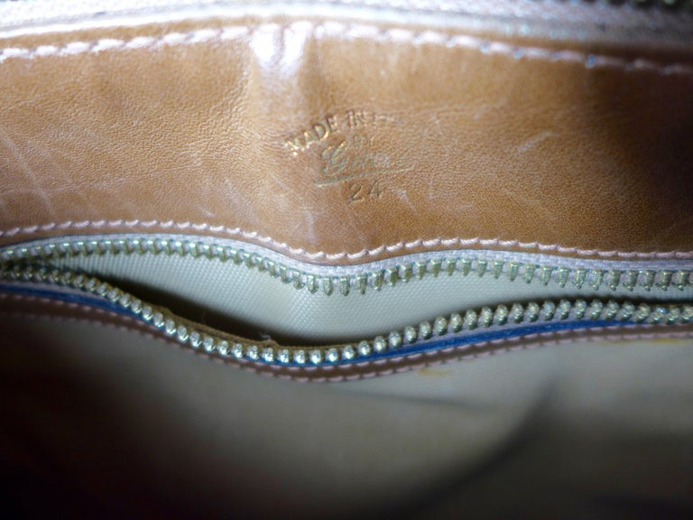 GUCCI Tan Leather and Canvas Shoulder Bag For Sale 2