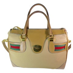 GUCCI Tan Leather and Canvas Shoulder Bag