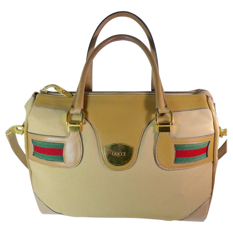 GUCCI Tan Leather and Canvas Shoulder Bag For Sale