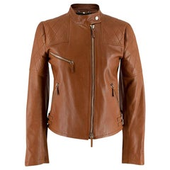 Gucci Tan Leather Asymmetric Biker Jacket - Size US 0-2