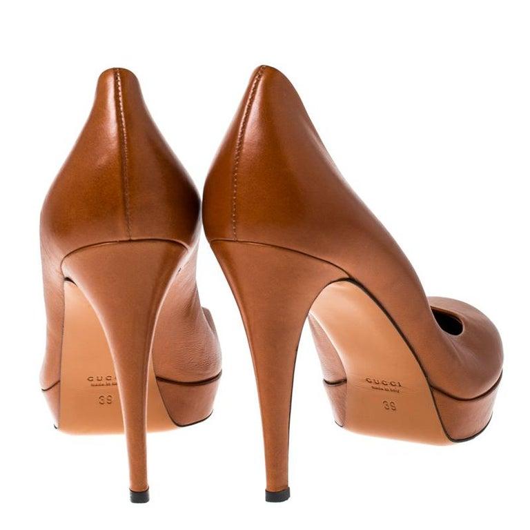 Women's Gucci Tan Leather Charlotte Platform Pumps Size 39 For Sale