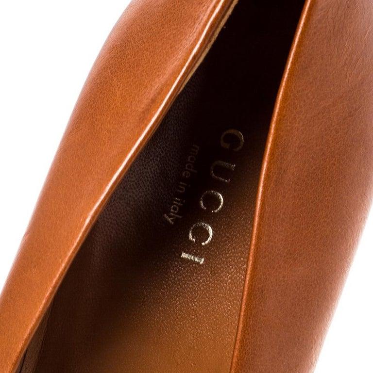 Gucci Tan Leather Charlotte Platform Pumps Size 39 For Sale 1