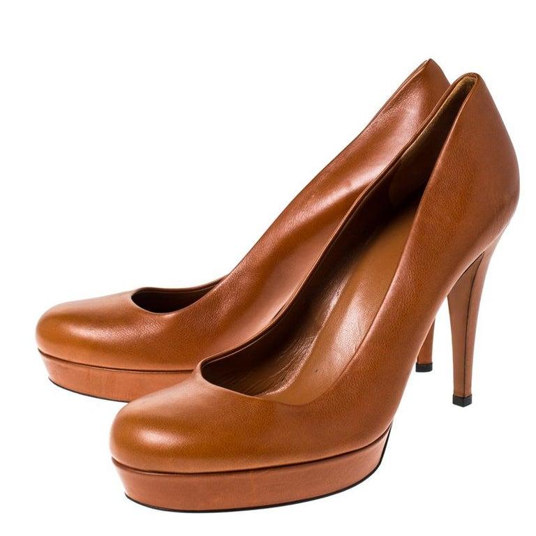 Gucci Tan Leather Charlotte Platform Pumps Size 39 For Sale 2
