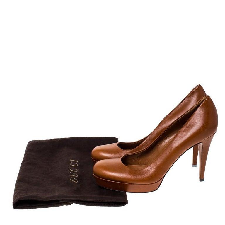 Gucci Tan Leather Charlotte Platform Pumps Size 39 For Sale 3