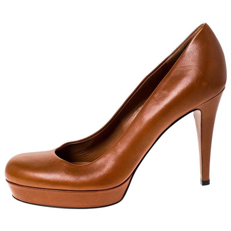 Gucci Tan Leather Charlotte Platform Pumps Size 39 For Sale