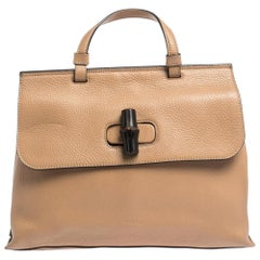 Gucci Tan Leather Medium Bamboo Daily Top Handle Bag