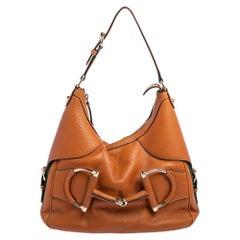 Gucci Tan Leather Small Web Horsebit Heritage Hobo