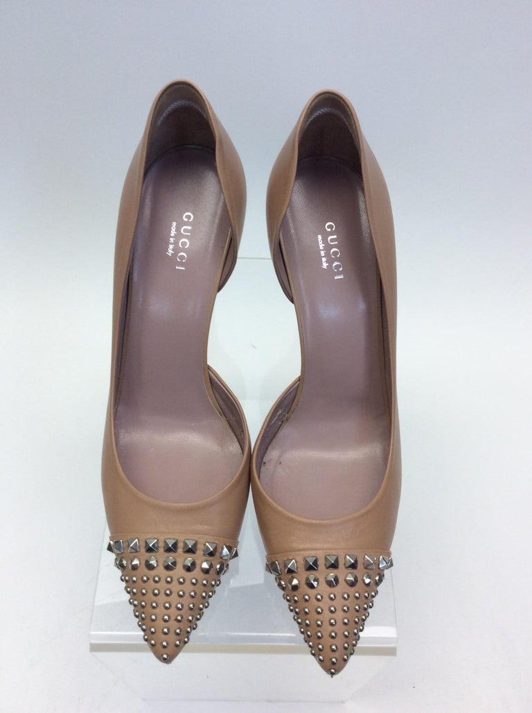 Women's Gucci Tan Leather Studded Heels For Sale