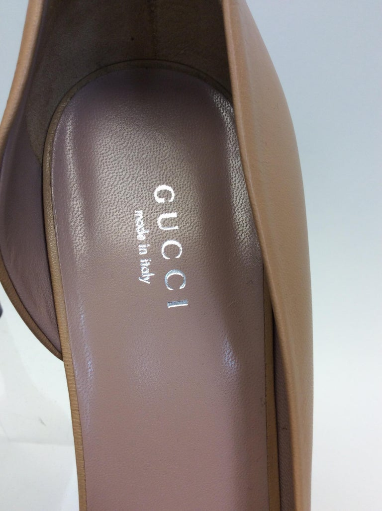 Gucci Tan Leather Studded Heels For Sale 2