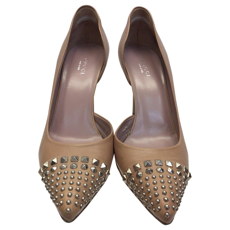 Gucci Tan Leather Studded Heels For Sale