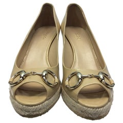 Gucci Tan Patent Leather Wedge
